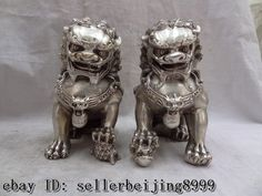 China Chinese Silver Wealth FengShui Foo Fu Dog Lion Ball Brass Statue Pair