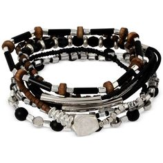 Kenneth Cole New York Silver-Tone Set of 6 Beaded Stretch Bracelets (60 CAD) ❤ liked on Polyvore featuring jewelry, bracelets, silver, stretch jewelry, silvertone jewelry, beaded jewelry, beading jewelry and silver tone jewelry