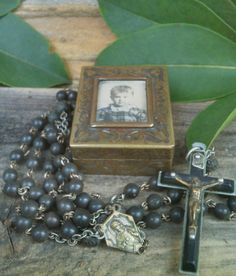 RESERVED RESERVED  NFS  Antique Mourning Rosary French Ebony and Brass, Lourdes Medal, Miniature Art Nouveau Brass Box  @@SOLD!!!, click on picture to view other items for sale :)