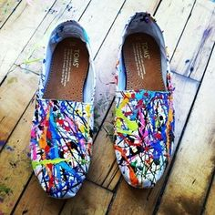 Paint splattered TOMS, I want to have a paint fight with white TOMS to make my own.