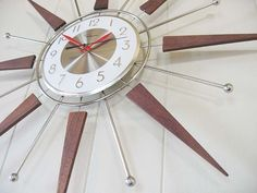 Vintage Ingraham Starburst Atomic Eames Era Wood & Brass Wall Clock