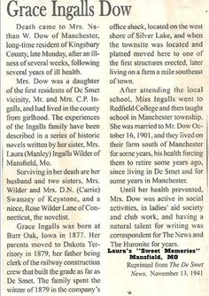 Grace Ingalls Dow obituary.