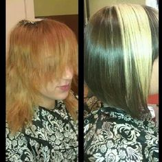 before and after haircut and color