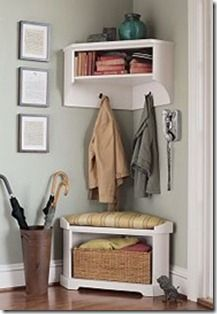 Love the corner bench! DIY Mini Mudroom : No closet in foyer? Use a corner of your front hall to carve out a mini mudroom! Corner Bench With Storage, Corner Shelf, Coat Storage Small Space, Tv Shelf, Diy Casa, Bench Plans, Home And Deco, Home Organization, Organizing