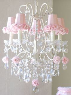 Shabby Crystal chandelier with Pink rose-shades~Cottage chic~Nursery decor Girls Chandelier, 5 Light Chandelier, Antique Chandelier, Nursery Chandelier, Crystal Chandeliers, Chandelier Shades, Shabby Chic Français, Shabby Chic Bedrooms, Whimsical Bedroom