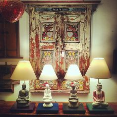 Piece Of The Day! Buddha Lamps. $500 - $600 . Also pictured . Hand Painted Welcome Door From India!
