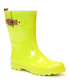 Neon Green Rain Boot by Chooka #zulily #zulilyfinds