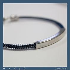 Bracciale in acciaio cromato blu con inserto in acciaio della collezione #ManClass  Steel bracelet chrome blu with with steel particular. #ManClass Collection