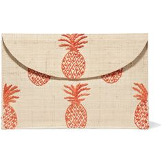 Kayu Pineapple embroidered woven straw clutch ($135) ❤ liked on Polyvore featuring bags, handbags, clutches, beige, straw clutches, pink handbags, kayu, embroidery purse and snap closure purse