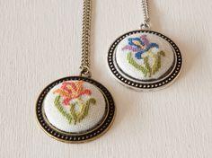 Cross stitch pendant  Iris Flower  Purple by BlackCatHandmadeShop