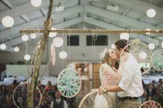 DIY dream catcher ceremony backdrop {DIY with cross stitch frames, yarn, branches, twine}