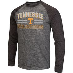 Tennessee Volunteers Colosseum Raven Long Sleeve Raglan T-Shirt - Charcoal/Heathered Black