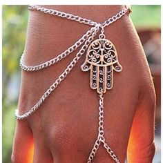Bracelet Bestpriceam (TM) Hot Fashion Hamsa Fatima Bracelet Finger Ring Bangle Slave Chain (Silver) Jewelry Bracelets
