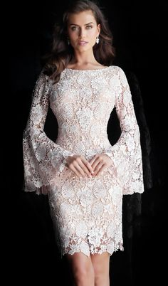 Jovani 61202 Blush and nude embellished lace short evening dress with a boat neck, long bell sleeve bodice and v-back, short length skirt with a sheer end. Lace Dress Styles, Short Lace Dress, Lace Sheath Dress, Lace Evening Dresses, Elegant Dresses, Bell Sleeve Dress, Bell Sleeves, Couture Dresses, Fashion Dresses