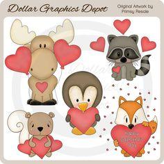 Valentine Animals - Clip Art