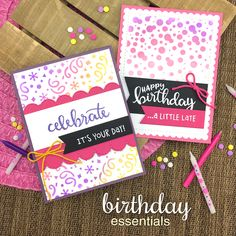 Birthday cards by Jennifer Jackson | Birthday Essentials Sentiment Stamp Set and Confetti and Bubbly Stencils by Newton's Nook Designs #newtonsnook #handmade