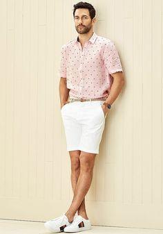 Today's Look: White Shorts. Photo: Simons. #ootd #menswear #mensfashion #mensstyle #instafashion #whiteshorts #shortsleeveshirt #patternedshirt