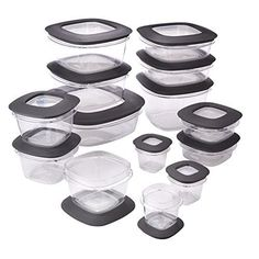 Crystal clear and stain resistant the Rubbermaid Premier Food Storage Containers Set keeps food fresh and stays looking beautiful. Made of shatterproof Tritan plastic these food containers . Dry Food Storage, Plastic Container Storage, Food Storage Containers, Plastic Food Containers, Lunch Containers, Storage Ideas, Tupperware, Refrigerator Organization, Pantry Organization