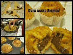 Oven baked Smores!! Ingredients: 2 pkgs. Crescent rolls Large Hershey bar (or other milk chocolate bar) Bag of large marshmallows 8 squares of graham crackers, crushed 2 Tbsp. melted butter Cupcake liners  Directions: Heat oven to 375 Put cupcake liners in muffin pan. Crush graham crackers ahead of time and place in a shallow bowl or dish. Melt butter, and set aside. Follow to Facebook for full recipe