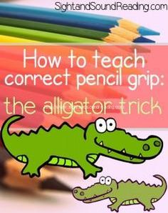 """So many primary kids struggle with how to grip their pencils- love this simple """"alligator grip"""" trick!"""