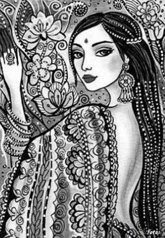 Ms Indian Art Paintings, Fantasy Paintings, Tribal Fusion, Drawing Sketches, Art Drawings, Bd Art, Pencil Shading, Art Folder, Madhubani Painting