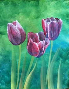 """So you think you can't paint - Yes you can! Join us for a fundraiser painting """"Tulips"""" at the library. Local retired art teacher and board member Lynda Proctor will lead this event step by step to creating a master piece! Please sign up at the library. Cost : $30 if paid by June 11th $35 after June 11th."""