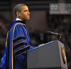 President Obama addresses graduates at Notre Dame's 2009 Commencement...Photo by Matt Cashore/University of Notre Dame