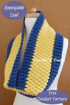 Free crochet pattern for honeycomb cowl, find the written instructions on crochetncreate.