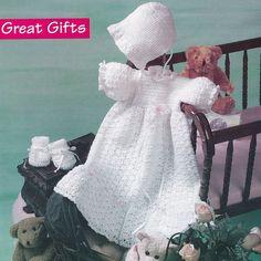 Christening Gown Crochet Pattern - Matching Bonnet, Baby Booties