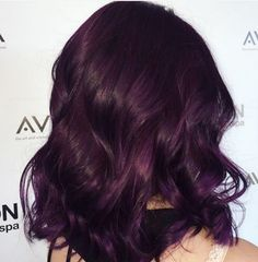 When in doubt, go purple. Classic royal purple Aveda hair color from Avalon Salo… When in doubt, go purple. Classic royal purple Aveda hair color from Avalon Salon Spa stylist Nicole. Purple Tinted Hair, Hair Color Purple, Hair Dye Colors, Dark Red Purple Hair, Aubergine Hair Color, Dark Violet Hair, Red Burgundy, Dark Brown Hair Rich, Dark Hair