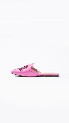 The Seraphina Satin Flat Mules in Pink