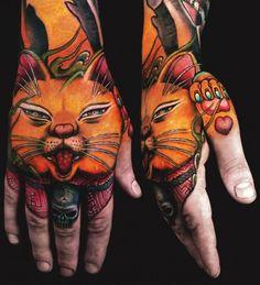New School Oriental cat tattoo by Jess Yen