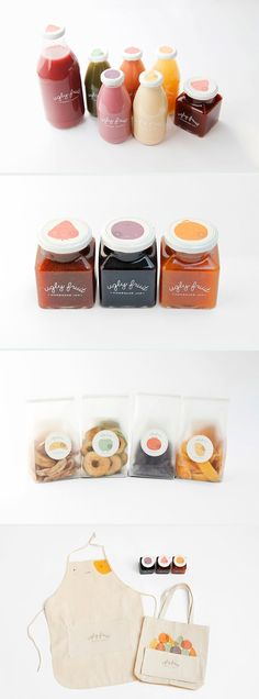 Nice script font logo (and a creative brand name) used on clean, simple clear packaging.