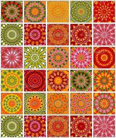 Printable Autumn Mandala Kaleidoscope Images, Digital Collage Sheet by DigiBugs