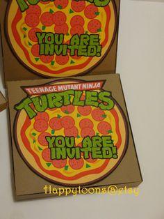 Teenage Mutan Ninja Turtles pop-up invitations - set of 8 - handmade bithday invitation