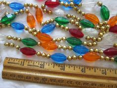 vintage mercury glass and bead garland  98 inches  by theartfloozy