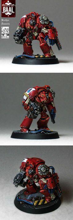 Blood Angels Terminator Brother Damaris of squad Alphaeus, from the Deathstorm box set.