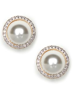 Pave pearl studs