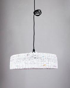 Geometric pendant eco lamp Simple shape Hanging big white lamp Minimal design Oryginal Decorative paper lamp Modern lamp over the table - Hoc lamp.