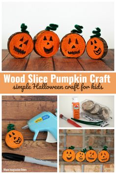 Adorable wood slice pumpkin craft for preschoolers! A simple Halloween craft. Kids can make spooky or silly jack-o-lantern faces! Fall Crafts For Toddlers, Craft Kids, Toddler Crafts, Art For Kids, Fun Halloween Games, Halloween Crafts For Kids, Halloween Party Decor, Halloween Pumpkins, Nature Crafts