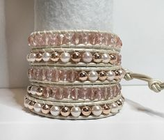 Wrap Bracelet - Rose Pink on White Pearl Leather