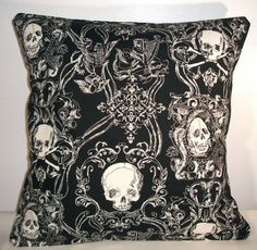 "New Black Toile Skulls Cushion Cover 16""X16"" † #home #decor #homedecor #skulls #skull #toile #cushion #cover #dark #macabre"