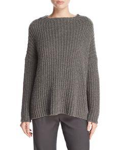 TD482 Vince Ladder-Stitched Funnel-Neck Cashmere-Blend Sweater, Charcoal