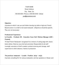Chef Resume Template – 11+ Free Samples, Examples, PSD Format Download! | Free…