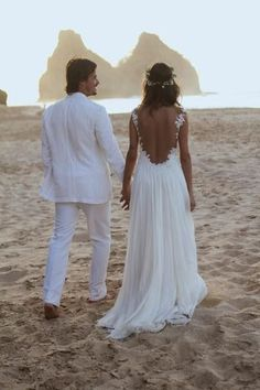 Backless Lace Wedding Dress,Open Back Beach Wedding Dresses
