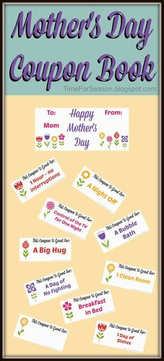 Free Mothers Day Coupon Book Printable mom gift for mother @A Time For Seasons