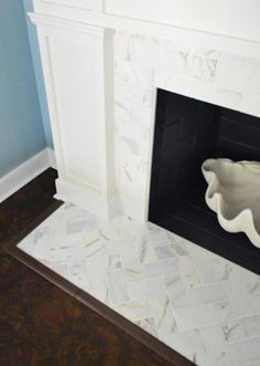 Basket Weave Carrara Marble Fireplace Tile Surround With