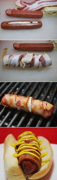 http://1000paleodietrecipesreview.blogspot.com/ Cheese Stuffed Bacon Wrapped Hot Dog - Rickey Health Food