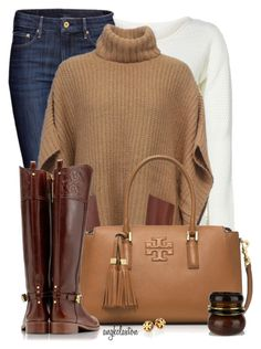 """""""Poncho and Riding Boots"""" by angkclaxton ❤ liked on Polyvore featuring ONLY, H&M, Michael Kors, Tory Burch and Oasis"""