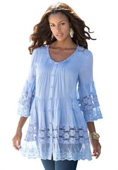 Roamans Womens Plus Size Illusion Lace Bigshirt Blue Pretty Outfits, Beautiful Outfits, Cute Outfits, Big And Tall Outfits, Plus Size Outfits, Boho Fashion, Fashion Dresses, Womens Fashion, Plus Size Tops